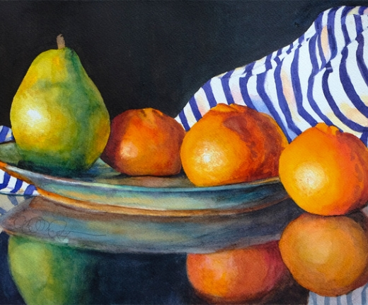 """Still Life with Pear and Clementines"" by Mary P. Murphy"