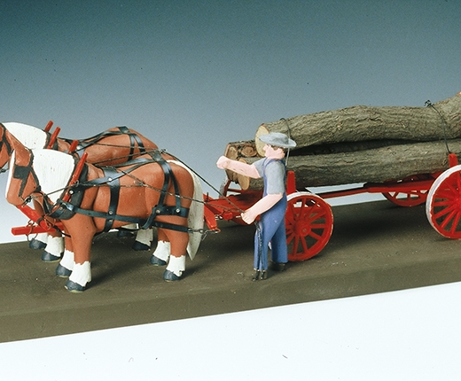Lavern Kelley - Log Wagon with Horses